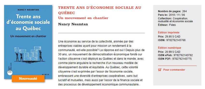 L'économie sociale depuis 30 ans au Québec